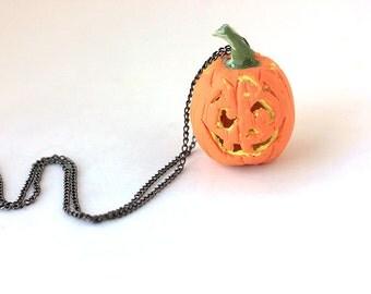 Halloween Necklace: Pumpkin Necklace-Fall Jewelry- Autumn- Polymer clay jewelry