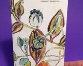 Fall Nasturtiums Card, Pen, Watercolor, Greeting Card, Notecard, Fall, Blank, Poem