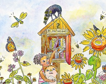 Little Free Library Archival Print, By Michelle Kogan, Watercolor and Pen, Art and Collectibles, Children, Animals, Children's Illustration