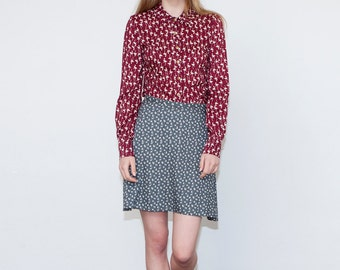 SALE, Button up shirt, Long sleeve blouse, Women's blouse, Collar blouse, Burgundy shirt with white birds, Autumn top, Fall blouse