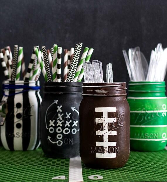 Football Mason Jar - Painted & Distressed Football Mason Jar - Game Day Party Ideas - Boy Room Decor