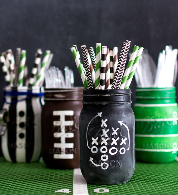 Football Game Chalkboard Plays Mason Jar - Football Mason Jars - Football Party Mason Jars - Painted & Distressed Mason Jars