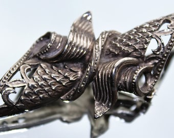 Large Silver Coloured Art Deco Style Scroll Vintage Brooch (c1970s)