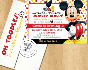 Mickey Mouse Clubhouse Birthday Invitations with Envelopes