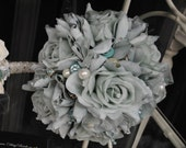 Asparagus Green Large Rose Bridal/Bridesmaid Posy **One Off Design Ready Made & Ready to Ship**