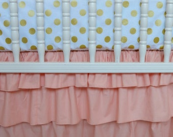 Peach three tiered skirt by Lavender Linens, girl crib bedding, coral crib skirt, shower gift, arissa