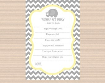 Wishes for Baby, Elephant Baby Shower, Grey, Yellow, Chevron A043