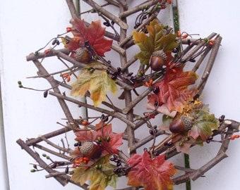 "16"" fall grapevine leaf wreath/door decor"