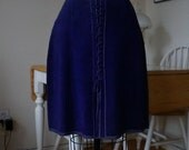 Vintage 1960s Purple Suede Leather Skirt / Lace Up Knee Length Skirt with Topstitching / Boho Hippie Festival / M