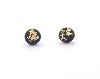 Black Gold Flake Earring Stud