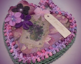 Upcycled Romantic Lilac Love Heart Mini Plaque