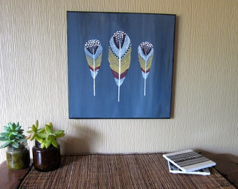 Winter Feathers - Original Acrylic Feather Painting on Canvas