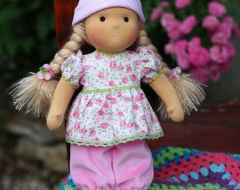 "Waldorf doll classic  ""pink Zajka""- 13 inches, daughter of a gift"