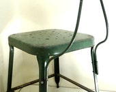 Vintage Industrial Factory Stool Chair Steel Metal Green Machine Age F9