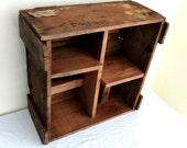 Vintage Rustic Wood Caterpillar Shipping Crate Handmade Barn Storage Shelving Unit