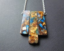 Bronzite Necklace - Bronzite and Jasper Pendant - Blue Jasper Necklace - Wired Wrapped Jewelry