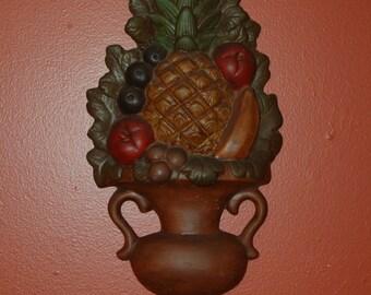 Vintage Hand Cast Plaster Fruit Urn Wall Decor