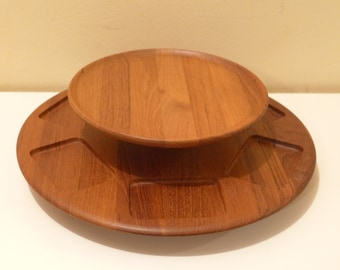 Digsmed Teak Lazy Susan Danish Modern Snack Platter 2 Tier Staved Teak Wood Sectioned Appetizer Wheel Denmark