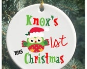 Personalized Christmas Ornaments My 1st Christmas with Christmas Owl