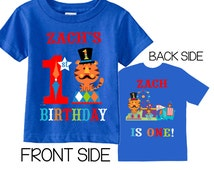 1st Birthday Shirts with CIrcus Animals Tees on ROYAL Shirts