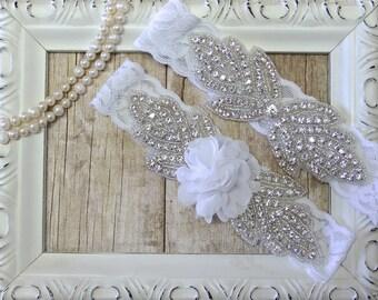 Garter Set - Customizable Flower and Rhinestone Wedding Garter Set Lace Garter Set, Toss Garter, Garter, Bridesmaid Gift, Prom, Wedding Gift
