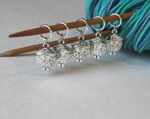 5 Stitch Marker Sheep Set of Silver Stitchmarker Knitting Crochet Charms to Mark Stitches Stitch Marker