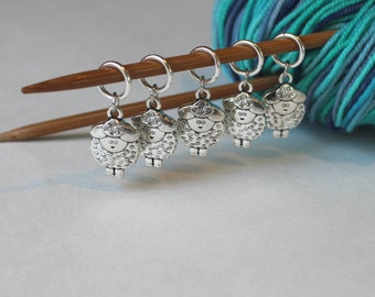 5 Stitch Marker Sheep Set of Silver Stitchmarker Knitting Crochet Charms to Mark Stitches Stitch Marker