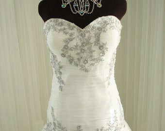 Strapless Sweetheart Platinum Silver Embroidered Wedding Dress with Laced Back and Rhinestones