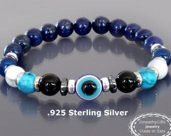 Mens evil eye bracelet Blue lapis bracelet Men beaded bracelet 925 Sterling silver, onyx, howlite, lapis lazuli bracelet Spiritual bracelet