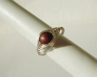 Ring with brown wooden bead, wire wrapped ring, adjustable