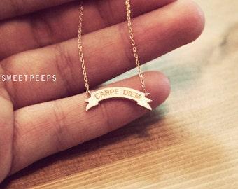 Gold Plated Tiny Ribbon Carpe Diem Necklace