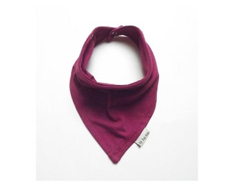 Baby Bandana Bib Scarf in Maroon Jersey Knit with Metal Snap Closure for Girl or Boy