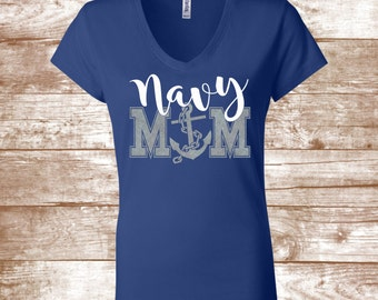 Navy Mom Glitter Shirt -  United States Navy - Armed Forces - Military Support- Navy Mom Shirt  Navy Wife Shirt - Sailor Shirt - Naval Shirt