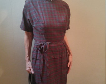 Vintage 1950s plaid wiggle dress, Justin McCarty, medium to large