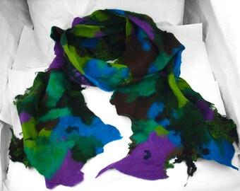 Felted Scarf Nunofelt Scarf art Scarves Light Felt Nunofelt Nuno felt Silk wearable art Eco Boho Fiber Art