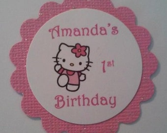 Hello Kitty Personalize Birthday Party Favor Gift Thank You Tags (12)