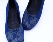 Handmade Vegan Shoes - Vegan Flats - Earth Friendly Pumps- Navy Blue - SIZE EU 35 to 44- Hand Printed Bunnies - Upcycled Tire Soles