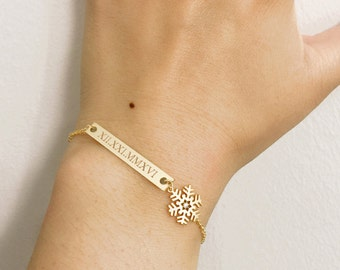 Roman Numeral Bar and Snowflake Bracelet / Gold Bar Bracelet / Personalized Gold Bar Jewelry / Snowflake Bracelet / Winter Bracelet