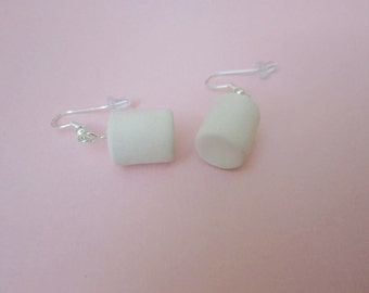 Marshmallow earrings, food earrings, miniature food jewelry, polymer clay food