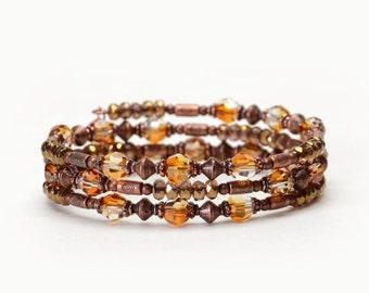 Crystal Copper Memory Wire Bracelet - Antique Copper, Swarovski Crystal, and Czech Glass Beaded Bracelet - Handmade Fall Jewelry