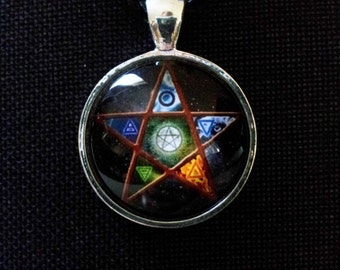 Pentagram Necklace + Free Shipping, Earth, Air, Fire Water, Spirit, Spiritual Jewelry, Wiccan Jewelry, Pagan Jewelry, Protection pendant