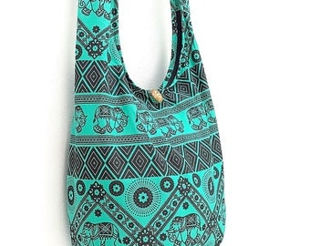 Women bag Handbags Cotton bag Elephant bag Hippie Hobo Boho bag Shoulder bag Sling bag Messenger bag Tote bag Crossbody Bag Purse Green
