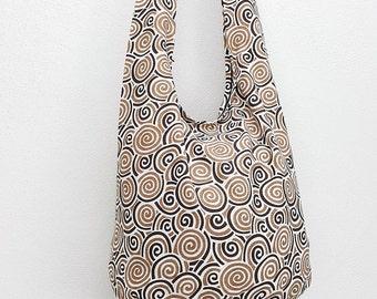 Women bag Handbags Cotton bag Hippie bag Hobo bag Boho bag Shoulder bag Sling bag Messenger bag Tote bag Crossbody bag Purse Swirl Lt Brown