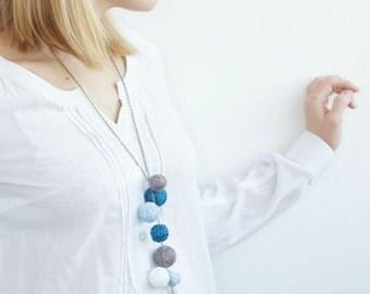 textile necklace for women lace textile blue gray