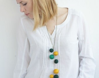 textile necklace for women lace textile green yellow