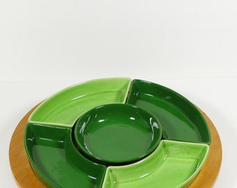 Complete Lazy Susan Snack Set Chip and Dip - Midcentury Ceramics LG Mark