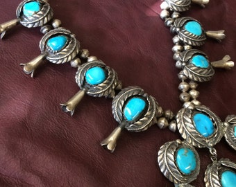 GREAT Squash Blossom Turquoise and Silver Necklace Bisbee Blue