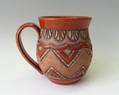 Large Pottery Mug • Sienna Brown & Tan • Triangles Zig-Zag Chevron •  Hand Carved • Unique • Leather Look • Rustic • Original • 14 to 16 oz