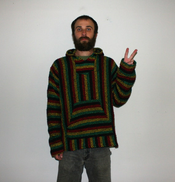 Hippie Drug Rug. Vintage Largel Baja Hoodie. Retro Rasta Boho