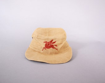 Vintage 40s MOBIL Oil HAT / 1940s Gas Station Summer Weight Pegasus Cap